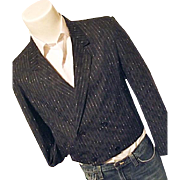 Vintage 1980's Mens Cropped Double Breasted Blazer Sport Coat Black Med