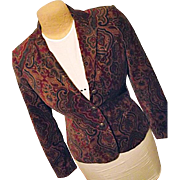 Ralph Lauren Womens Velveteen Paisley Blazer Jacket PS Petite Small
