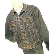 SOLD Vintage Levi's Mens Denim Trucker Biker Jacket 70506 Blanket Lined 48