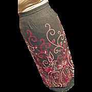 BOHO Vintage Womens Gray Wool Maxi Wiggle Skirt Sm Embroidered EG California