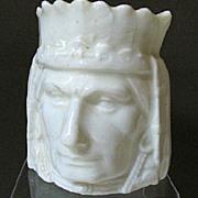 SALE Czech/Austrian Ceramic Figural Indian Head Bank, White Glaze