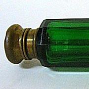 Late 1800s English Green Glass Double Lay-Down Perfume