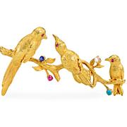 SOLD Bejeweled Flock: English Bird Brooch