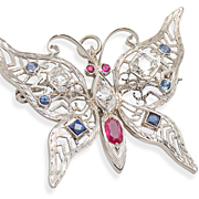 Float Away - Gem Set Butterfly Brooch Pendant