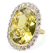 Amazing Green Citrine & Diamond Halo Ring
