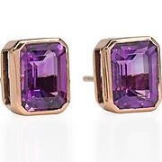 SALE PENDING Amethyst Set Rose Gold Stud Earrings
