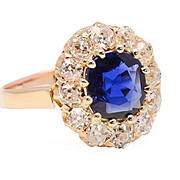 Victorian Sapphire Diamond Halo Ring