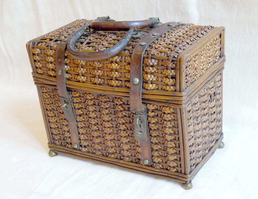 Antique French Basket Purse Handbag with Braiding & Leather Trim