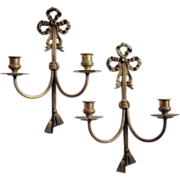 SALE Vintage Brass Sconces, Bow & Tassel