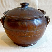 REDUCED Large Old Dark Brown Glazed Pot with Cover and Handles, Redware
