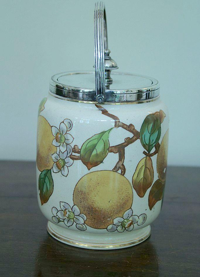 Antique English Jam Pot By Taylor Tunicliff & Co, England, Lemons & Flowers