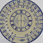SALE Staffordshire Child's Plate with Alphabet, Numbers, Clock