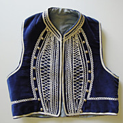 SALE Child's Navy Velvet Vest with White Braid & Silver Studs
