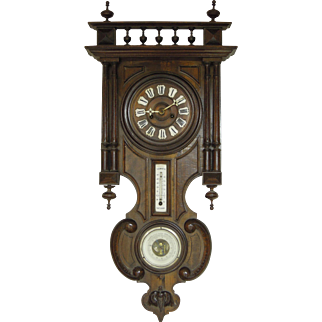 SALE Antique German Wall Clock with Barometer & Thermometer, Ca. 1890