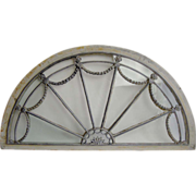 Antique Arched Fan Federal Transom Window, Original Glass