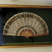 Beautiful Antique Fan in a Gold Boxed Frame