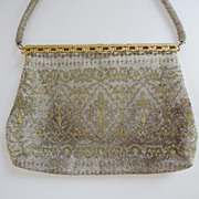 Beautiful Antique French Silver and Gold Beaded Purse, Evening Bag, Handbag