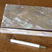 "SALE 19th Century Mother of Pearl French ""Berck Su Mere"" Souvenir Calling Card Case"