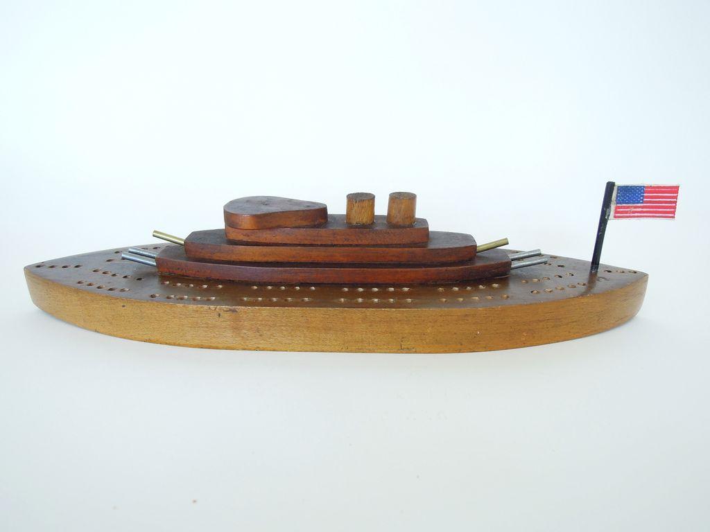Vintage Folk Art Wood Model Ship Cribbage Board, Boat, Game Board