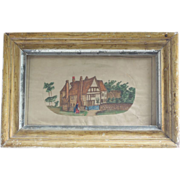 Antique Watercolor Painting, English Village