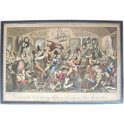 Original Hand Colored Etching by G. Cruikshank, Dick and His Valet Shewing Fight in Caveat, Low Life in Paris