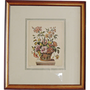 Hand Colored Engraving by L. Tessier, Basket of Flowers