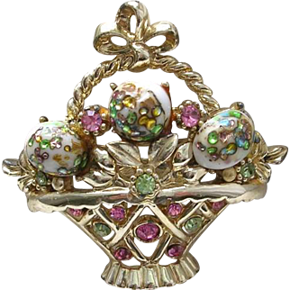 Vintage Rhinestone Pin Brooch Basket Glass Eggs Gold Plated Pink Green White