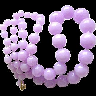 Vintage Lavender Purple Lilac Plastic Swirls Beads String Necklace