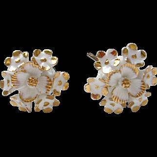 Vintage Porcelain Enamel White Floral Earrings Made in England Screw back Clip ons