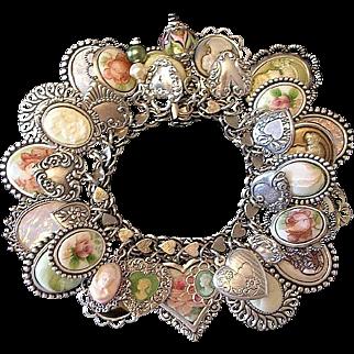 Vintage Heart Cameo Sterling Silver Charm Bracelet Elco