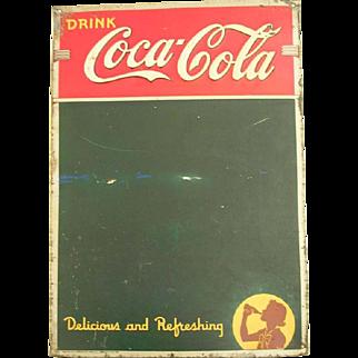 Vintage Coke Sign Drink Coca Cola Delicious And Refreshing Chalk Board Menu Restaurant 1942 American Art Works Advertisement