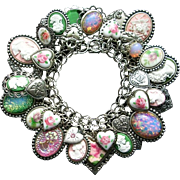 Vintage Sterling Heart Charm Bracelet Cameos Roses