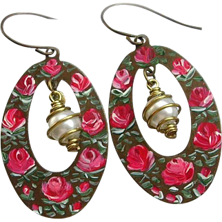 Hand Painted Enamel Flower Earrings Red Roses Brass Oval Hoops Faux Pearl Beads Dangles