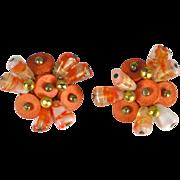 Vintage Orange Art Glass and Wood Bead Earrings