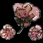 REDUCED Vintage Vendome Huge Acrylic Pink Flower Brooch & Earrings