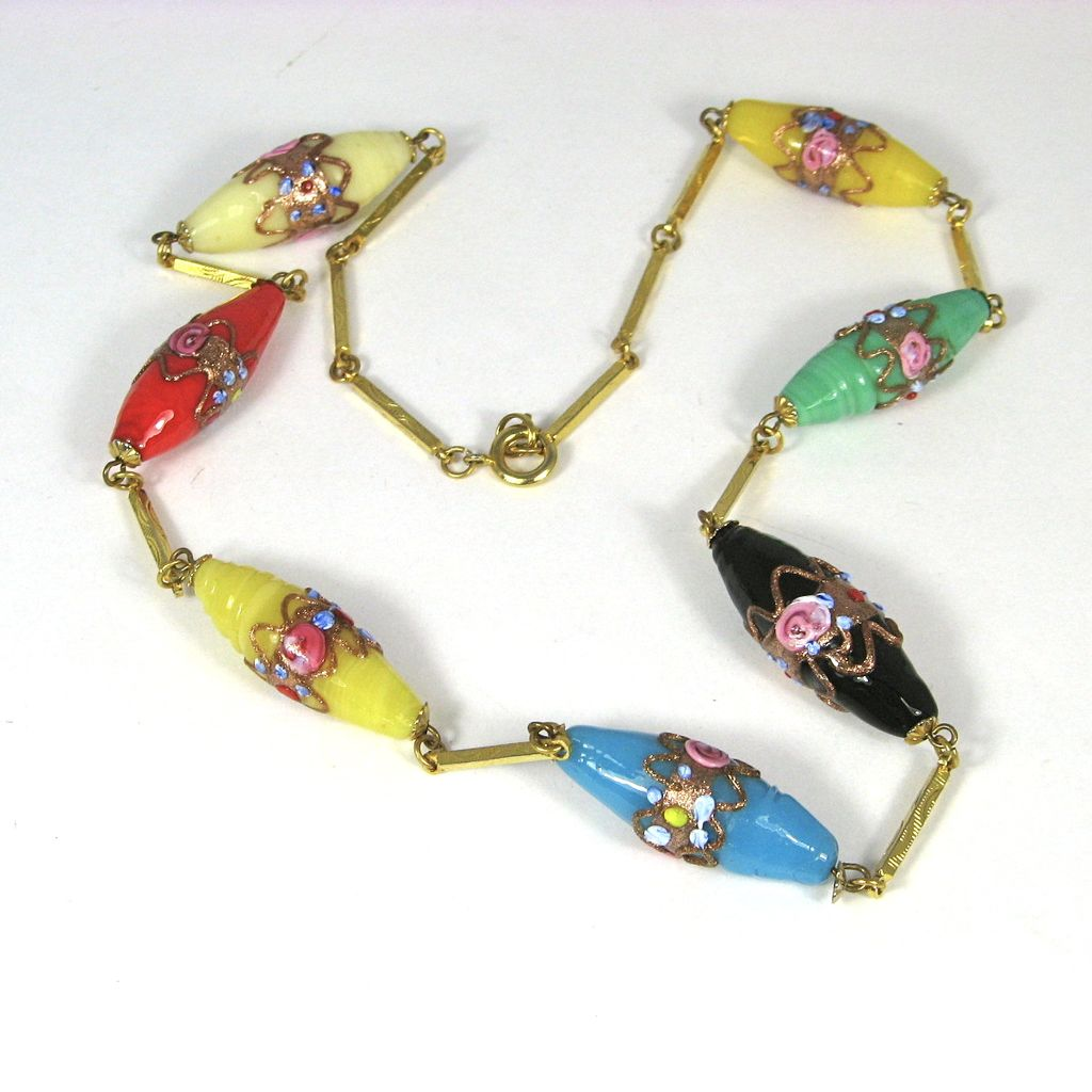 Vintage Murano Wedding Cake Glass Bead Necklace From