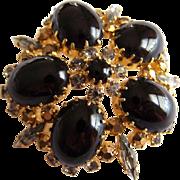 AUSTRIAN Glass rhinestone Large black art glass gold and navette stone brooch Made in Austria