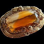Pretty Large Amber glass Western GERMANY filigree ornate pin brooch