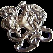 Beautiful Antique ART NOUVEAU Sterling Silver lady floral motif repousse brooch