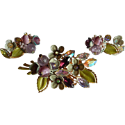 Unique Layered 3-D Aurora Borealis Enameled floral rhinestone cluster brooch earrings costume
