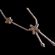 Signed Israel AVI SOFFER Sterling Silver designer star drop lavalier necklace