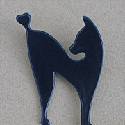 SALE Midnight Blue Silhouette Cat Pin, by Lea Stein, Paris