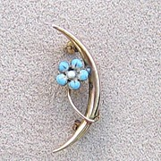 Victorian Gold and Blue Enameled Flower Pin