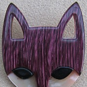 SALE Burgundy Fox head pin by Lea Stein, Paris