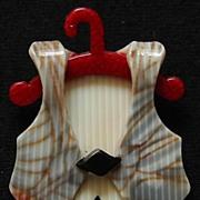 SALE Vest on a Coat Hanger Pin, by Lea Stein, Paris