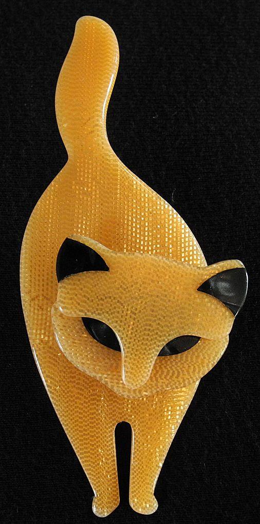 Golden Standing Cat Pin, by Lea Stein, Paris