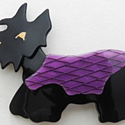 SALE Black Scottie Dog Pin, by Lea Stein, Paris