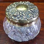 Cut Crystal Vanity Powder Jar ~with Rare Sterling Gold Wash Repousse Lid