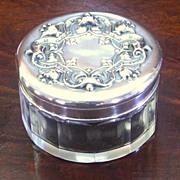 Cut Crystal Vanity Powder Jar ~Sterling Repousse Lid