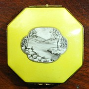 Limoges France, late 1800's, La Reine Hand Painted Pill Box